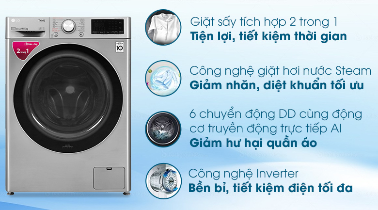 tính năng trên Máy giặt sấy LG lồng ngang 9 kg FV1409G4V