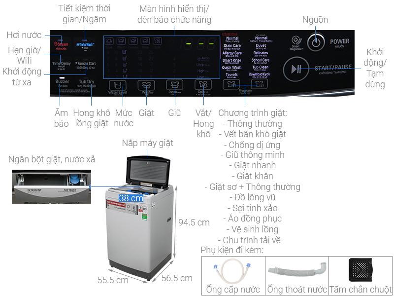 Máy giặt LG lồng đứng12 kg TH2112SSAV- mẫu 2020