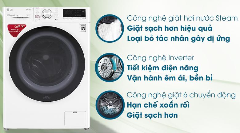 Máy giặt LG lồng ngang 8.5 kg FV1408S4W tại vinh nghệ an
