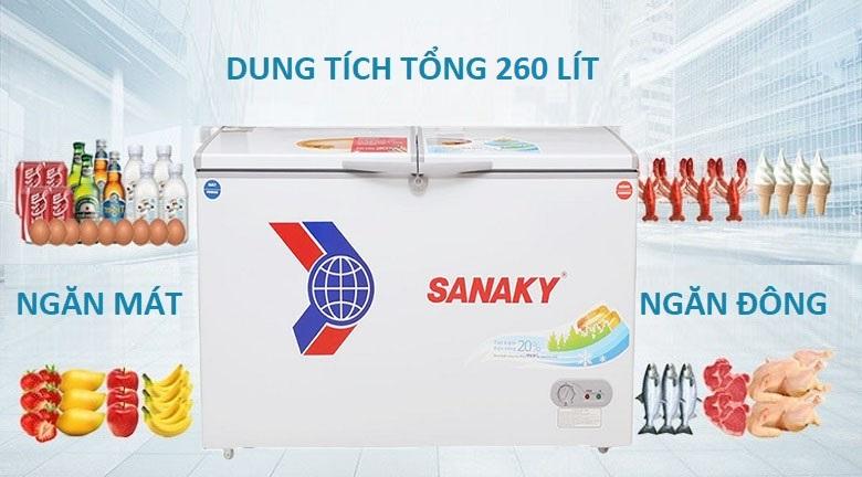 Tủ đông Sanaky 260 lít dàn lạnh đồng VH-3699W1 giá rẻ tại tp vinh nghệ an- dung tích 260