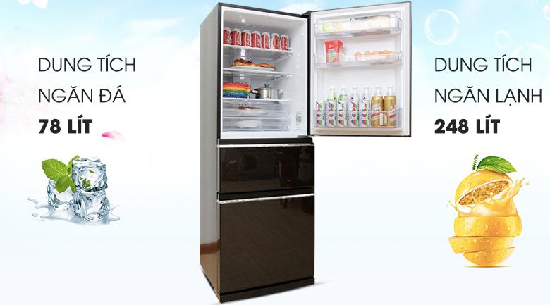 Tủ lạnh Mitsubishi MR-CX41EJ-BRW-V 326 lít tại kho giá rẻ ở tp vinh, Nghệ An, Hà Tĩnh