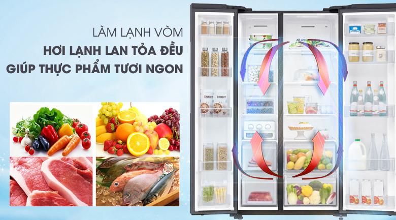 Tủ lạnh Samsung 647 lít side by side RS62R5001B4/SV- làm lanh vòm