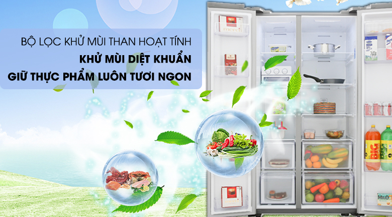 Tủ lạnh Samsung 647 lít side by side RS62R5001B4/SV- khử mùi hôi