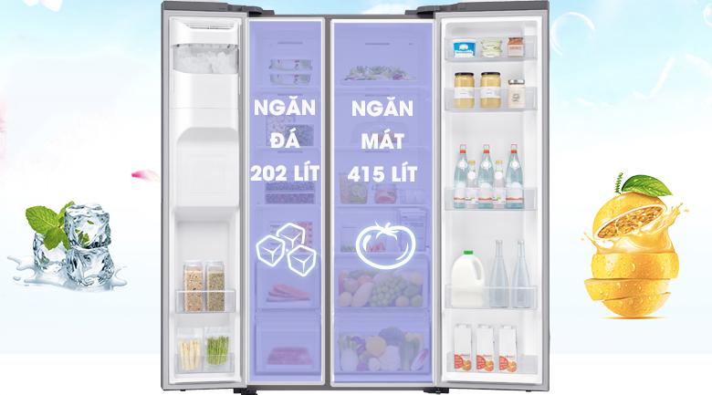 Tủ lạnh Samsung 617 lít side by side RS64R5101SL/SV giá rẻ- không gian rộng