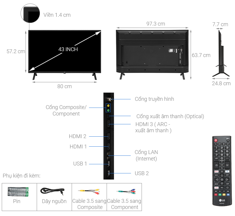 Smart Tivi LG 43 inch 43UN7000PTA- mẫu 2020