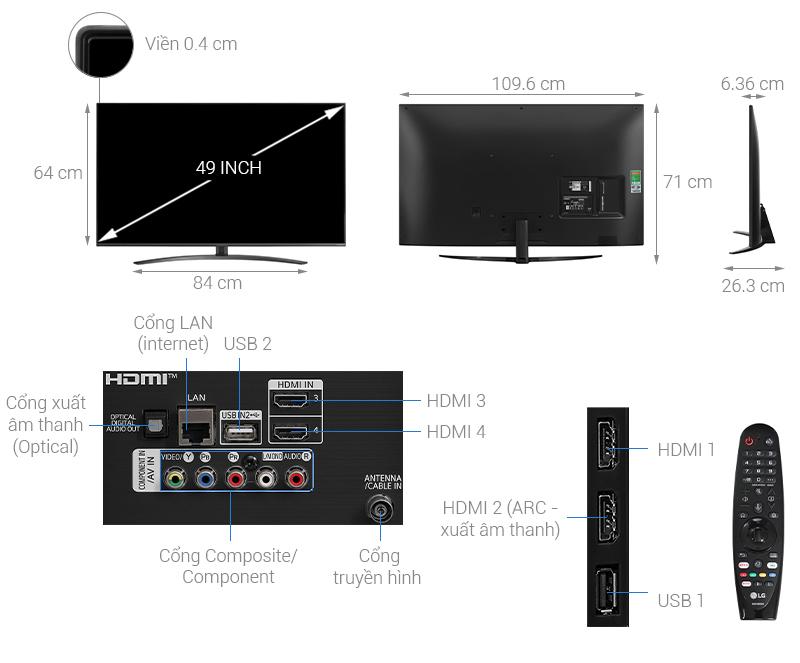 Smart Tivi LG 49 inch NanoCell  49NANO81TNA - mẫu 2020
