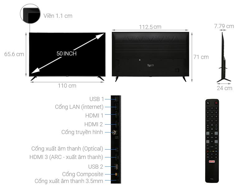 Smart Tivi TCL 50 inch 4K L50P65-UF